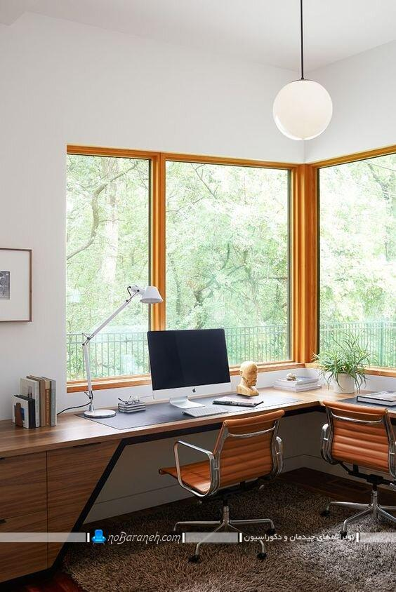 عکس میز کامپیوتر و تحریر کمجا و چوبی دو نفره