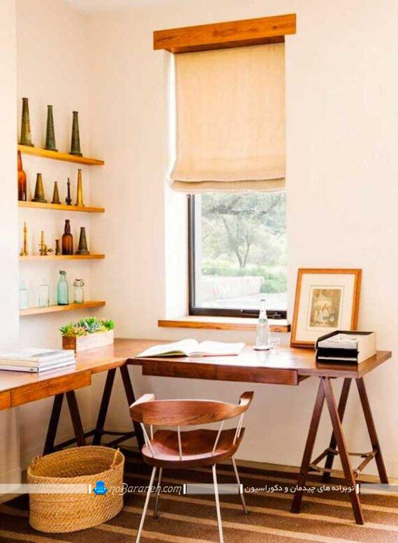 عکس میز تحریر کوچک چوبی ال و کنجی کلاسیک شیک ارزان قیمت