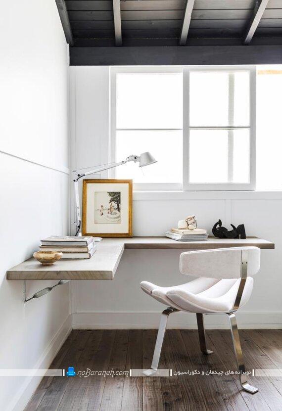 عکس میز تحریر کنجی و ال ساده و شیک برای چیدمان گوشه اتاق خواب. میز تحریر کوچک ساده ارزان قیمت شیک مدرن