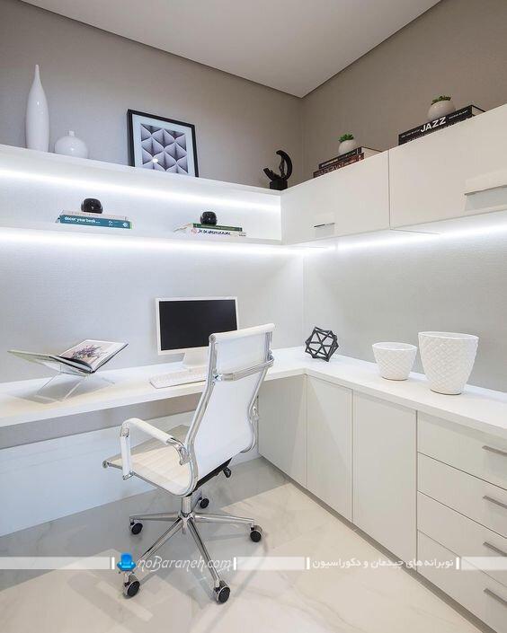 میز تحریر چوبی سفید رنگ شیک ساده مدرن برای کنج گوشه ال عکس