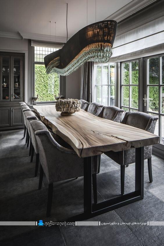 میز نهارخوری سلطنتی و چوبی کلاسیک شیک طرح کنده درختی
