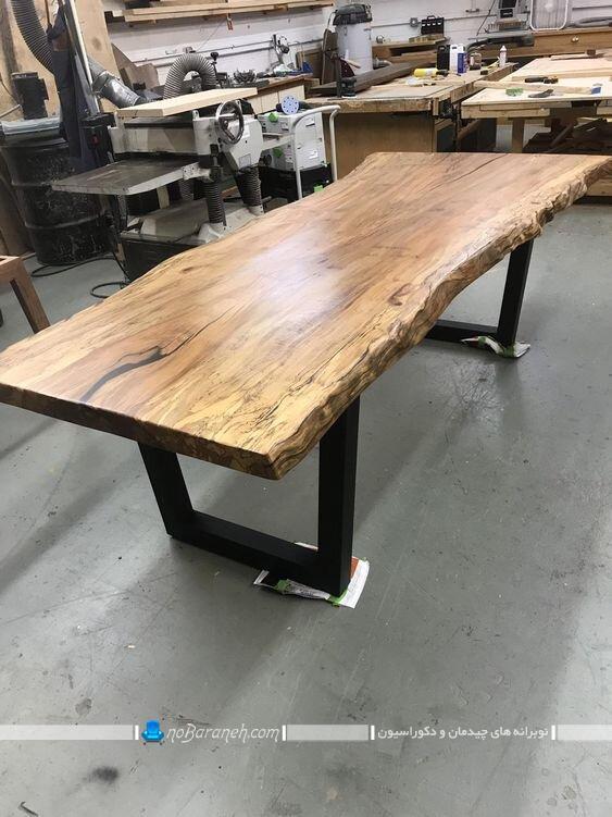 ناهارخوری چوبی با طرح کنده درخت کلاسیک شیک جدید عکس مدل