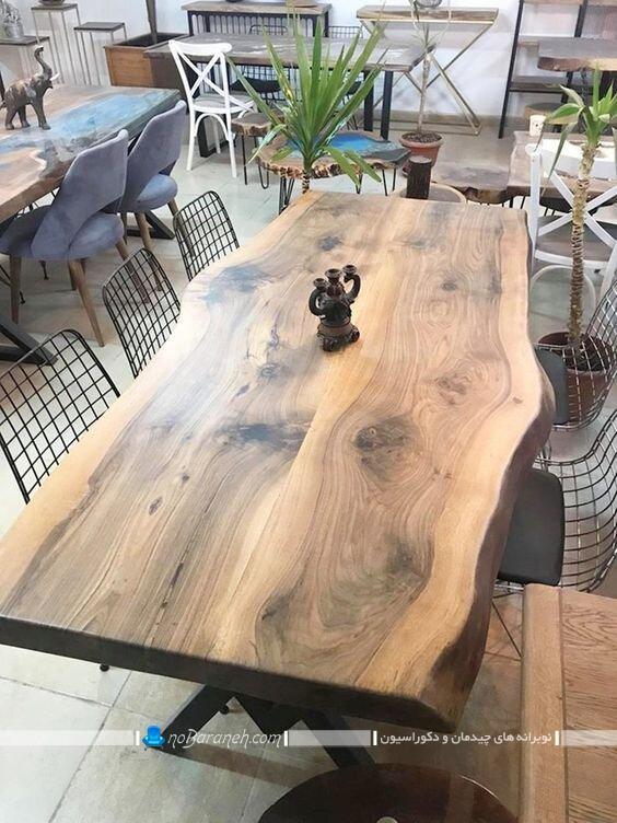میز نهارخوری ساخته شده از تنه درخت. عکس طرح و مدل های جدید میز ناهارخوری چوبی مدرن شیک کلاسیک