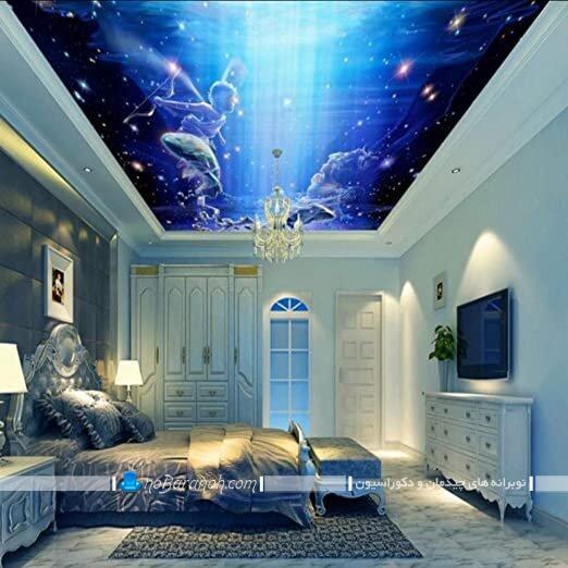 کاغذ دیواری سقف اتاق خواب کاغذ دیواری سه بعدی سقف اتاق خواب سقف اتاق خواب با کاغذ دیواری