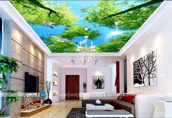 تزیین سقف پذیرایی با پوسترهای تزیینی بزرگ مدل سقف با کاغذ دیواری پوشاندن سقف با کاغذ دیواری