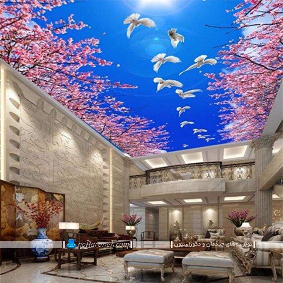 کاغذ دیواری طرح منظره آسمان برای سقف پذیرایی و اتاق خواب. تزیین سقف پذیرایی با پوستر و کاغذ دیواری تزیینی شیک و مدرن