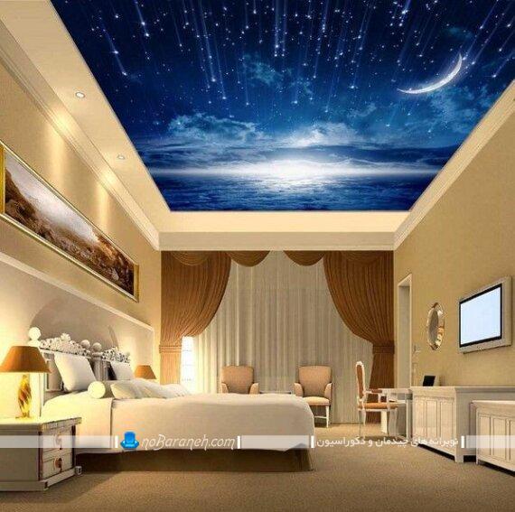 سقف پذیرایی با کاغذ دیواری ترکیب رنگ سقف با کاغذ دیواری سقف خانه با کاغذ دیواری