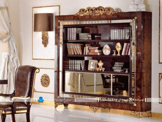 عکس مدل های سلطنتی کتابخانه و بوفه چوبی کلاسیک زیبا طرح جدید