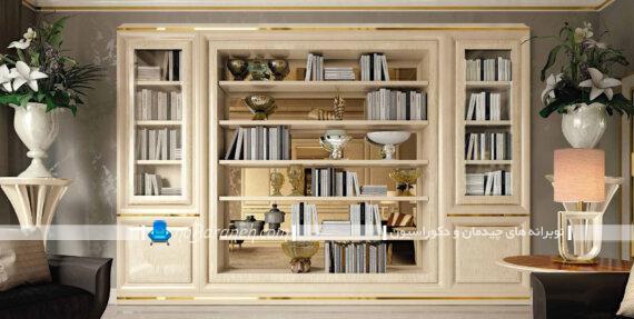کتابخانه و ویترین چوبی خانگی