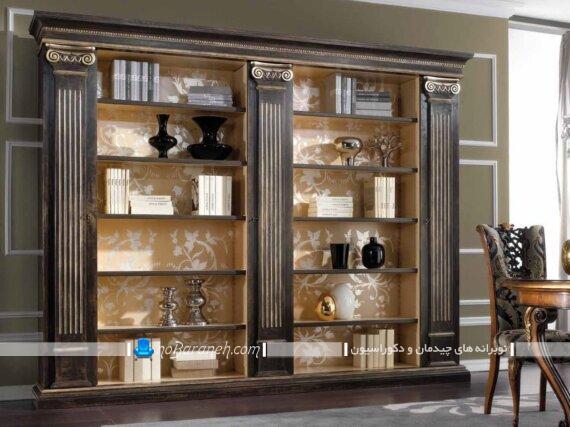 طرح جدید کتابخانه چوبی کلاسیک. کتابخانه خانگی در مدل های جدید زیبا شیک سلطنتی