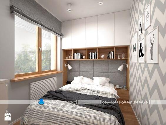 کمد دیواری اتاق خواب کمد کنار تختی چوبی شیک مدرن با عکس مدل جدید