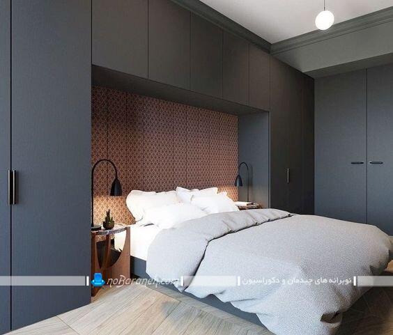 کمد دیواری های چوبی و ساده کنار تختی مدل های جدید کمد دیواری برای تزیین اطراف تخت خواب و سرویس خواب