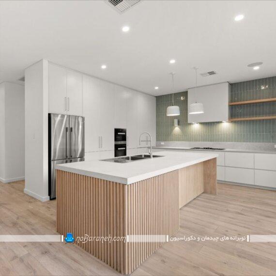 دکوراسیون چوبی میز جزیره آشپزخانه به سبک مدرن شیک زیبا با عکس و مدل های جدید