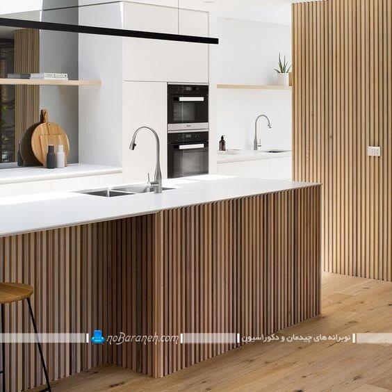 دکوراسیون شیک و مدرن آشپزخانه اپن با چوب. دکوراسیون چوبی و مدرن آشپزخانه مدرن و جزیره اپن