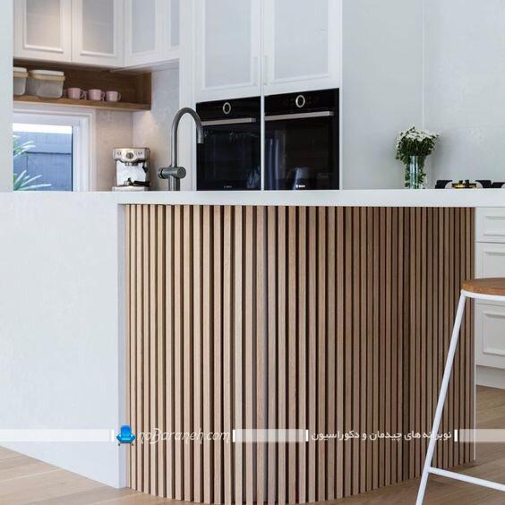 عکس مدل های جدید تزیین میز اپن آشپزخانه با چوب و تخته