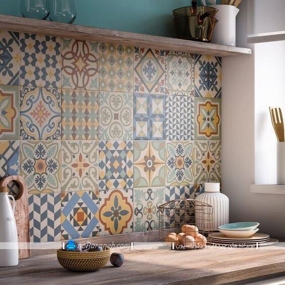 عکس و مدل طرح های جدید کاشی بین کابینتی آشپزخانه