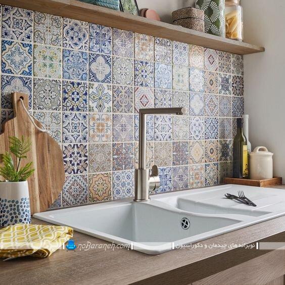 تزیین دیوار آشپزخانه با کاشی و سرامیک طرح دار شیک مدرن کلاسیک فانتزی زیبا با عکس و مدل