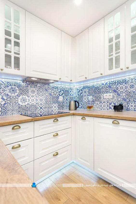 کاشی بین کابینتی فانتزی و سنتی شیک مدرن کلاسیک. عکس مدل های تزیین دیوار آشپزخانه
