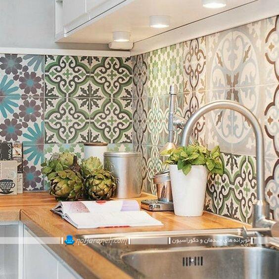 دکوراسیون آشپزخانه با کاشی های فانتزی شیک مدرن کلاسیک سنتی. تزیین آشپزخانه با مدل های جدید کاشی دیواری